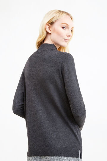 Pullover with high neck, Grey, hi-res