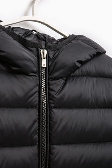 Solid colour down jacket with hood, Black, hi-res