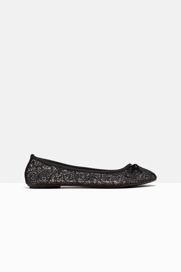 Lace ballerina pumps, Black, hi-res