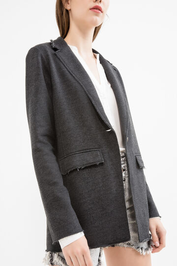 Cotton blend long blazer with lapels, Dark Grey, hi-res