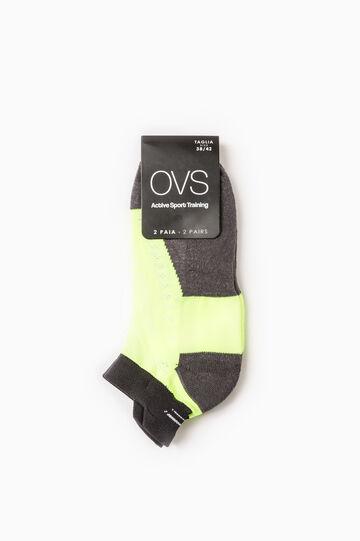 Set due paia calze OVS Active Sport Training, Giallo fluo, hi-res