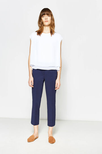 Stretch cropped trousers with zip, Navy Blue, hi-res
