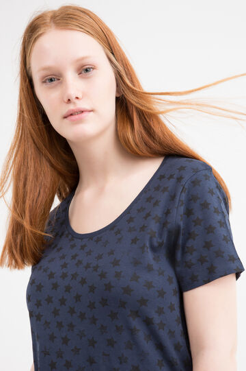 Curvy 100% cotton patterned T-shirt, Navy Blue, hi-res