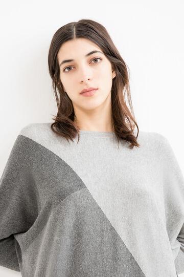 Cotton and viscose round neck pullover., Grey, hi-res