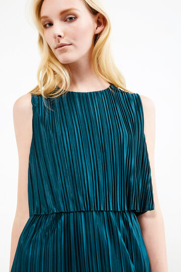 Pleated longuette dress, Teal Green, hi-res