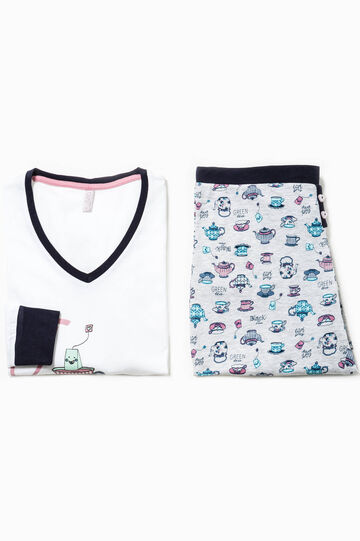 Pyjamas with print and contrasting pattern, White/Grey, hi-res