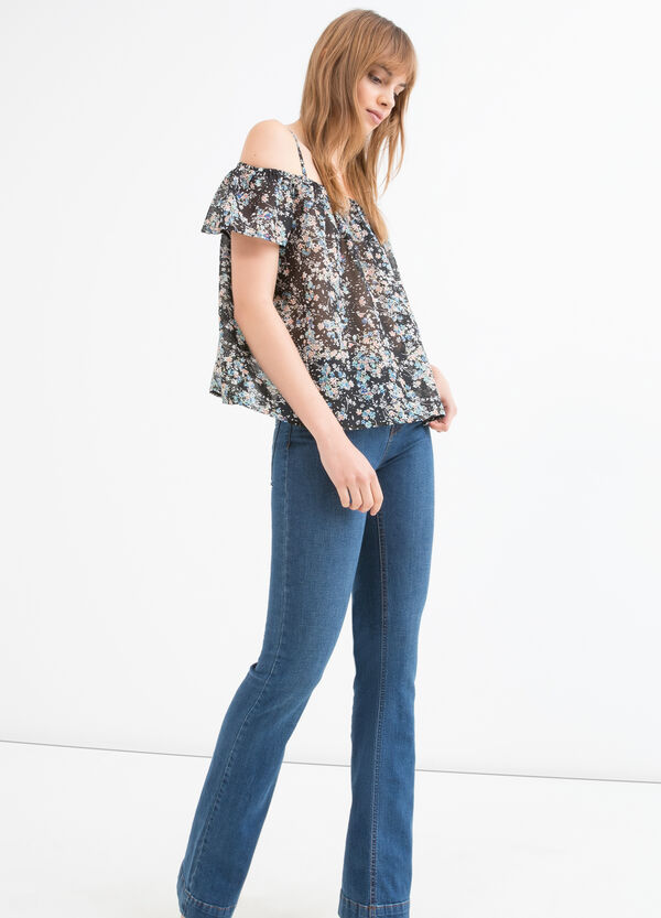 Patterned blouse with boat neck | OVS