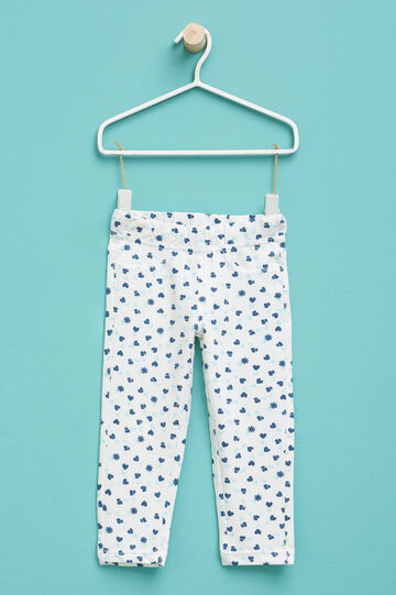 Patterned trousers in stretch cotton, Milky White, hi-res