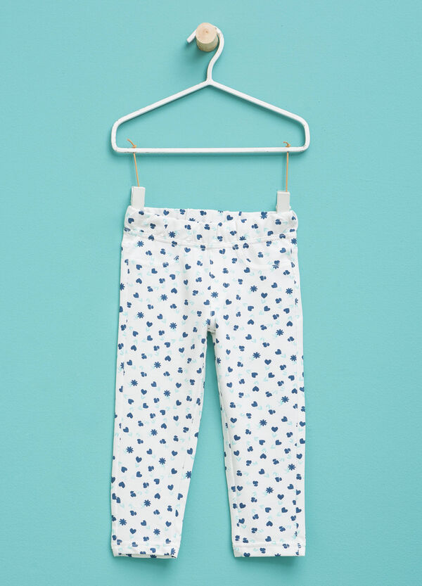 Patterned trousers in stretch cotton | OVS