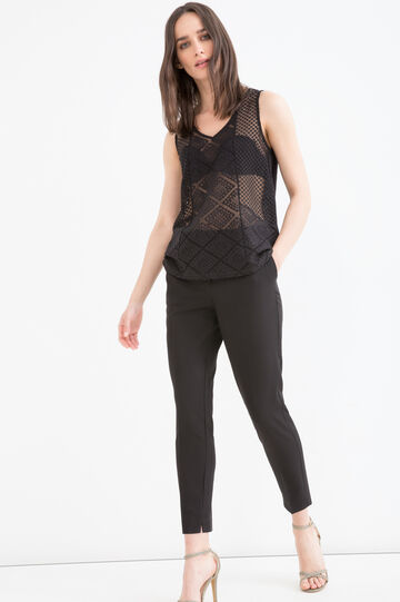 Semi-sheer, solid colour top, Black, hi-res