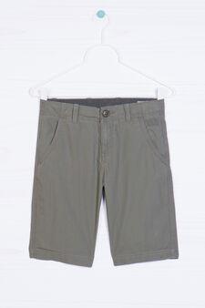 Plain cotton Bermuda shorts, Olive Green, hi-res