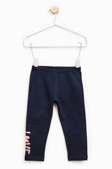Pantaloni in cotone stampa lettering, Blu navy, hi-res