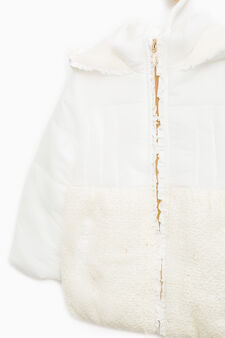 Down jacket with flounces and fur, Milky White, hi-res