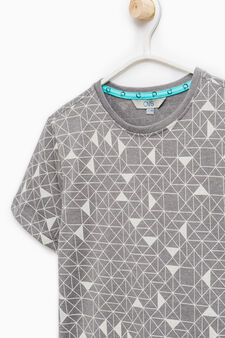 Cotton T-shirt with geometric pattern, Grey Marl, hi-res