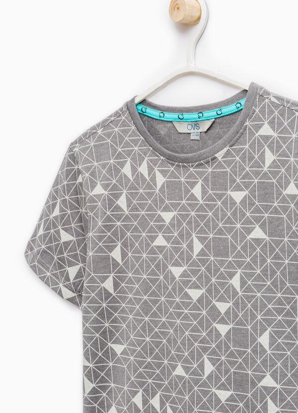 T-shirt cotone fantasia geometrica | OVS
