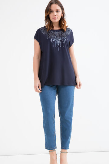 Curvy viscose T-shirt with sequins, Navy Blue, hi-res