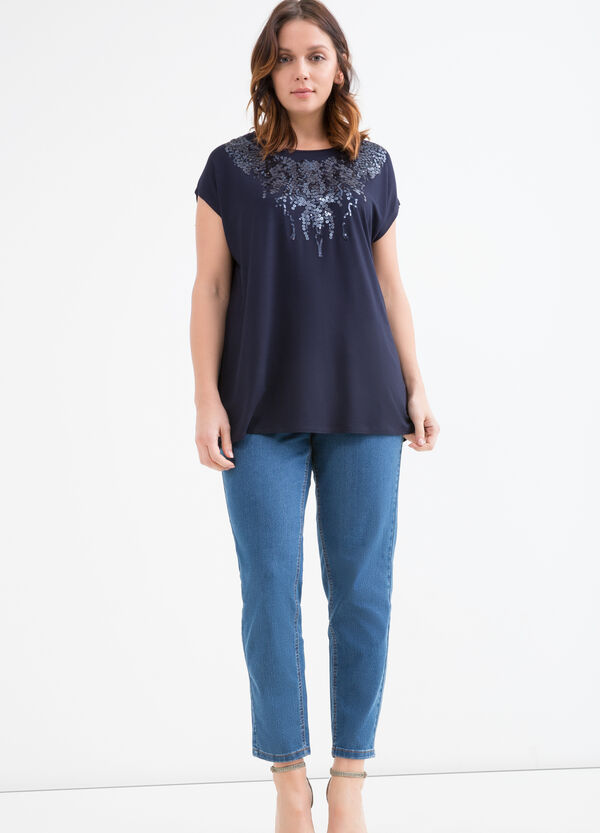 Curvy viscose T-shirt with sequins | OVS