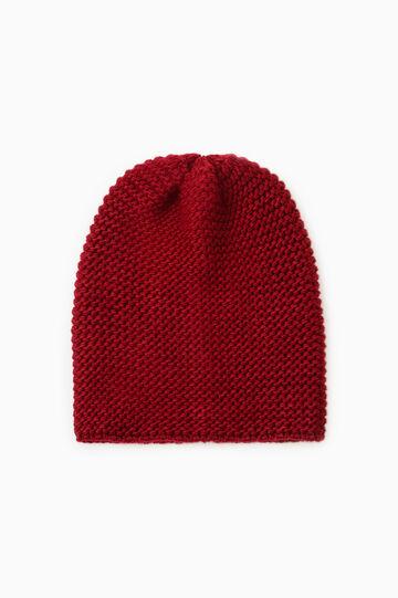 Chunky knit beanie cap, Dark Red, hi-res