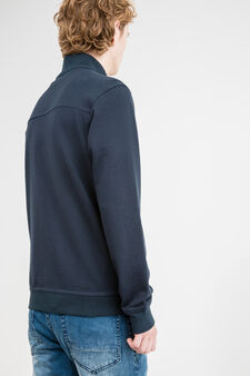 G&H cotton sweatshirt with high neck and zip, Navy Blue, hi-res