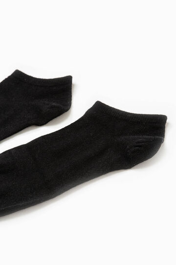 Solid colour stretch cotton short socks, Black, hi-res