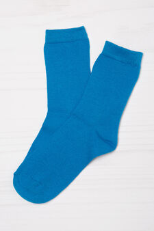 Three-pairs solid colour socks., Navy Blue, hi-res