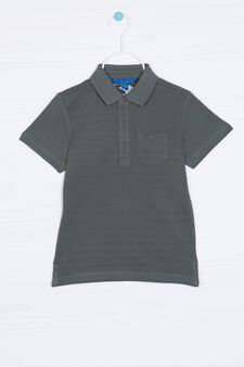 Solid colour polo shirt in 100% cotton, Dark Green, hi-res