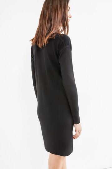 Solid colour long-sleeved dress., Black, hi-res