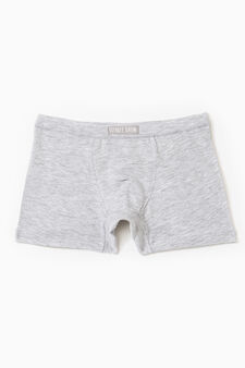 Stretch cotton boxers with patches, Grey Marl, hi-res