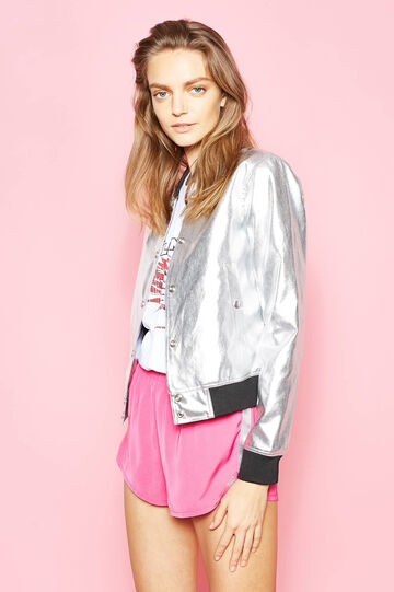 Shiny bomber jacket with snap buttons, Grey/Silver, hi-res