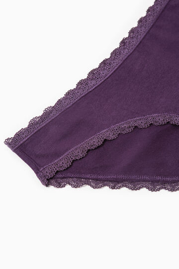 Three-pack solid colour briefs with lace, White/Purple, hi-res