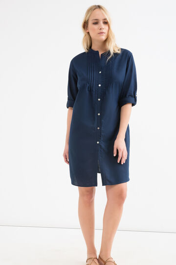 Curvy pleated shirt dress, Navy Blue, hi-res