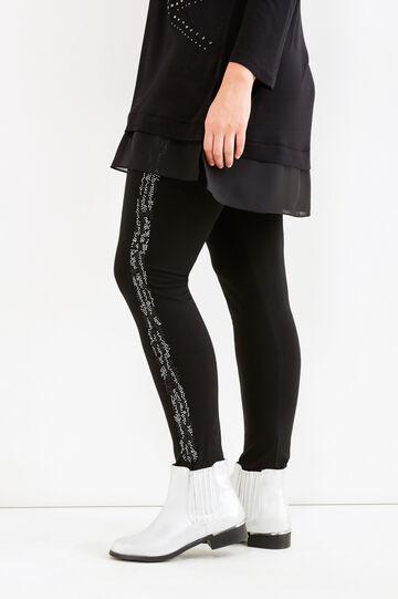 Leggings stretch con strass Curvy, Nero, hi-res