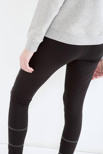 Printed cotton gym pants, Black, hi-res