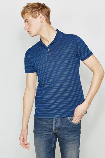 Striped pattern polo shirt in 100% cotton, Blue/Light Blue, hi-res