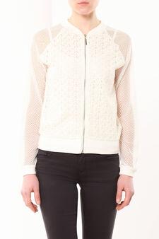 Openwork jacket, White, hi-res