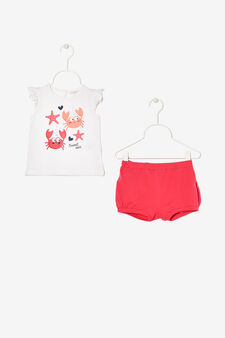 Sleeveless T-shirt and shorts outfit, White/Fuchsia, hi-res