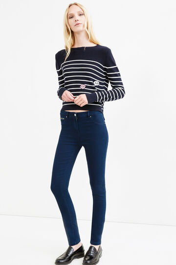 Stretch jeans with pocket with zip, Navy Blue, hi-res