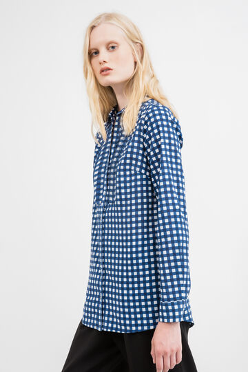 Pleated shirt with all-over print, Blue, hi-res
