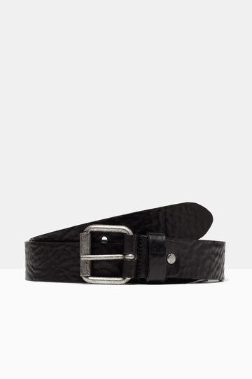 Real leather hammered belt, Black, hi-res