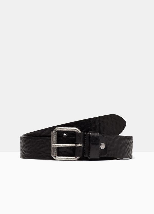 Real leather hammered belt | OVS