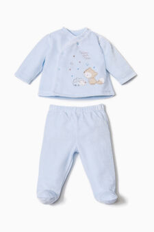 Embroidered cotton blend outfit, Light Blue, hi-res