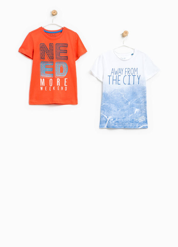 Two-pack 100% cotton printed T-shirts | OVS