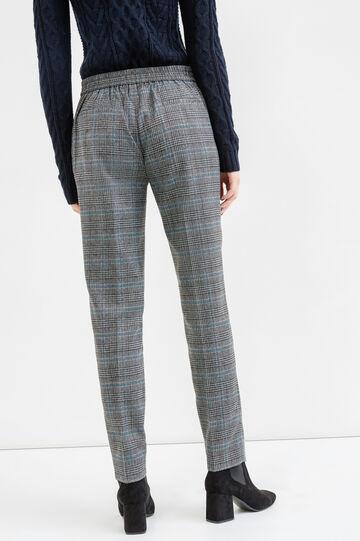 Check pattern stretch trousers, Grey/Blue, hi-res