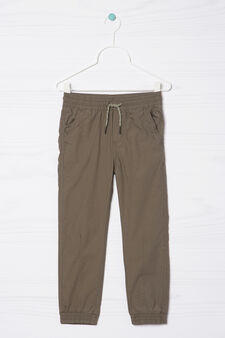 100% cotton joggers with drawstring, Dark Green, hi-res