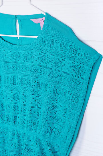 Solid colour openwork blouse, Green, hi-res