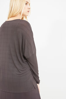 Curvy V-neck T-shirt in 100% viscose, Dark Grey, hi-res