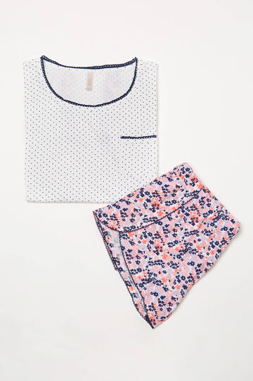 Patterned pyjamas in 100% cotton, White, hi-res