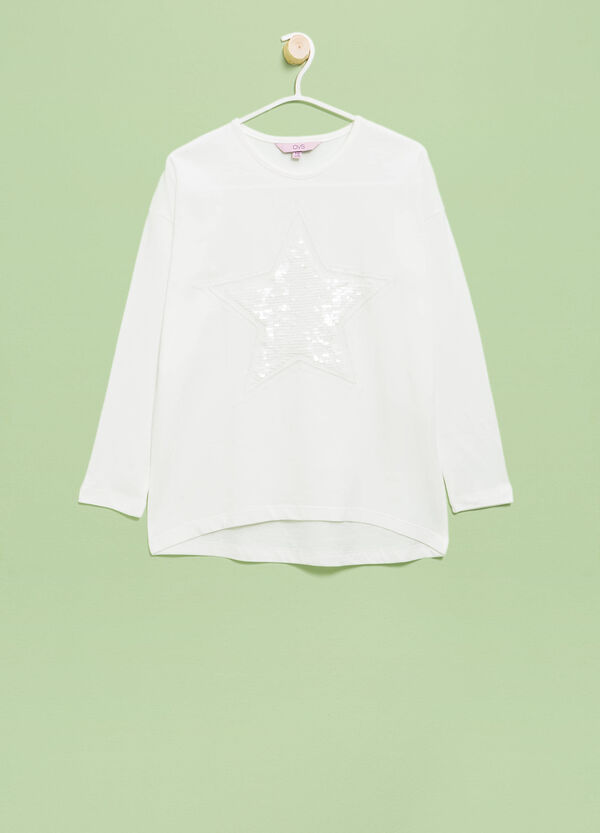 Cotton T-shirt with sequins and embroidery | OVS