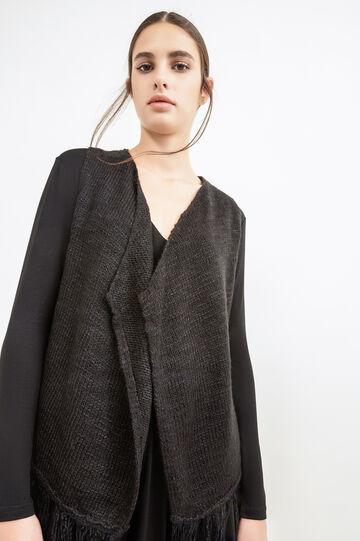 Sleeveless knit cardigan, Black, hi-res