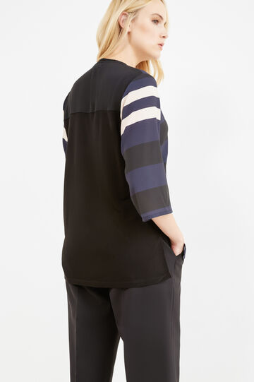 Curvy striped blouse in viscose blend, Black/Blue, hi-res